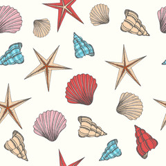 Seamless pattern with hand drawn seashells. Summer design for wallpaper, web page background, surface textures, print for fabrics