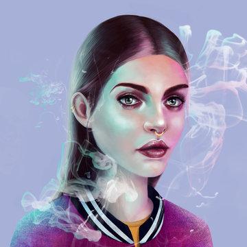 Stylish young woman surrounded by smoke