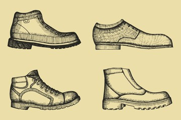 Shoes set of hand drawings. vector illustration
