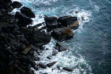 vawes and rocks, isle of skye, scotland