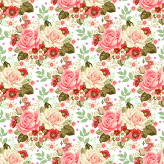 Seamless pattern with rustic bouquets of roses 2
