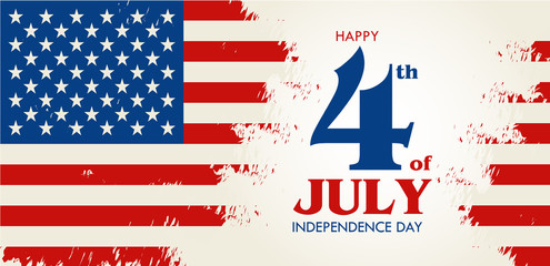 Happy 4th of July - Independence Day of United States of America greeting card design vector illustration