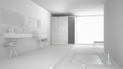 Total white project of minimalist bathroom with bath tub and panoramic window, classic interior design