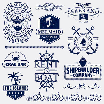 Sea and nautical logos and design elements.
