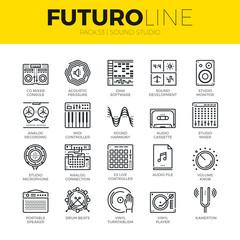Sound Studio Futuro Line Icons