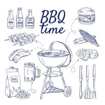 Doodle set of BBQ - grill, barbecue, burger, beef, sausages, corn, sauces, meat skewers, steak, charcoal, tools, hand-drawn. Vector sketch illustration isolated over white background.