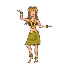Vector cartoon hand drawn hawaiian dancing girl