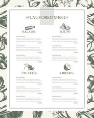 Flavoured Products - hand drawn template menu