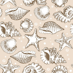 Seamless pattern, beige shells and starfish with bubbles