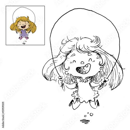 Nina Saltado A La Cuerda Dibujo Para Colorear Stock Photo And