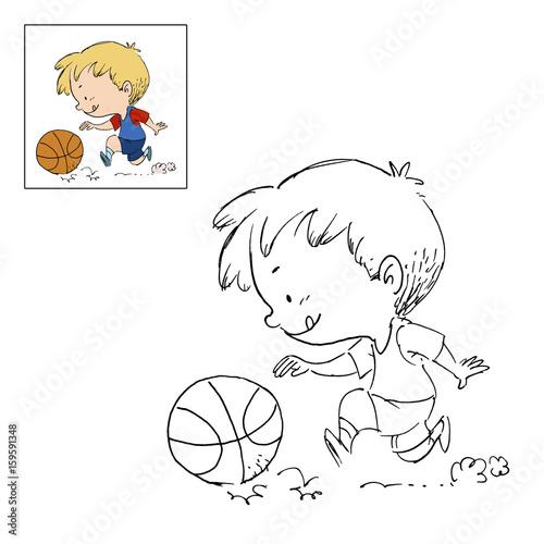 Niño Jugando A Baloncesto Dibujo Para Colorear Fotos De Archivo E