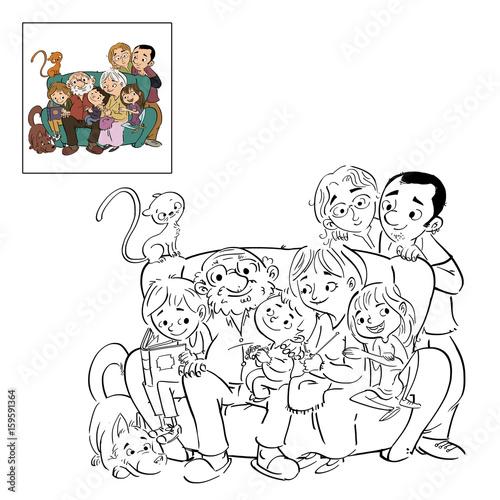familia dibujo para colorear\