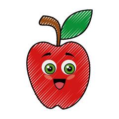apple funny cartoon icon vector illustration graphic design