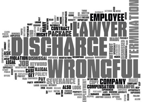 WRONGFUL DISCHARGE LAWYER TEXT WORD CLOUD CONCEPT