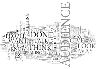 WORST TIPS TO GIVE A SPEAKER TEXT WORD CLOUD CONCEPT