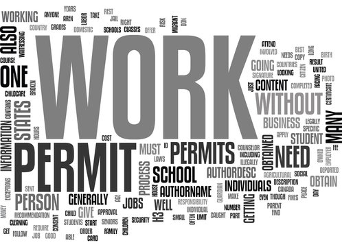 WORK PERMITS TEXT WORD CLOUD CONCEPT