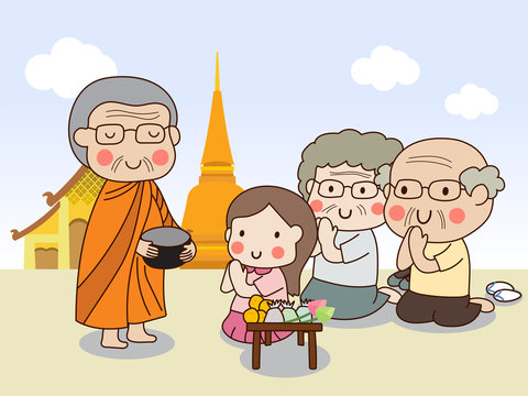Buddhist monk holding alms bowl in his hands to receive food offering from sitting girl and sitting elderly couple with temple background.