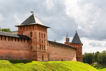 Old towers of Veliky Novgorod Kremlin, Russia