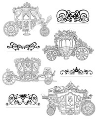 Graphic set with old carriages and vintage vignette patterns on white