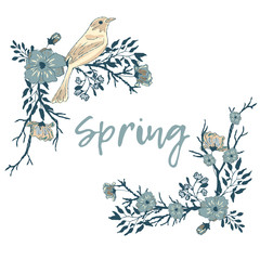 Corner border with a bird, flowers and tree branches. Spring. Birds and flowers. A collection of vector elements for design.