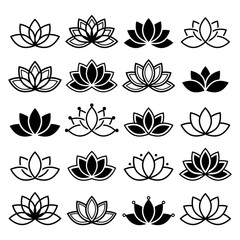 Lotus flower design, set, Yoga vector abstract collection