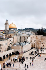 View of the Western Wall, the Dome of the Rock and the Mughrabi Gate on the Temple Mount in the Old City of Jerusalem.