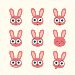 Set funny bunny rabbit different emotion. Collection emoticons of cartoon bunny rabbit isolated.
