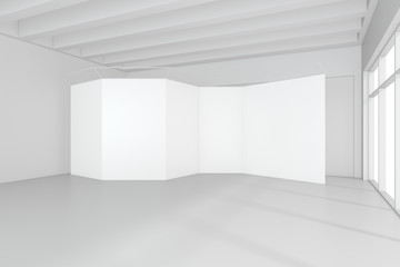 Blank exhibition stand on floor in white room. 3d rendering