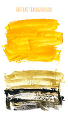 Set of yellow, gold, black watercolor hand painted texture backgrounds isolated on white. Abstract collection of acrylic dry brush strokes, stains, spots, blots. Creative grunge frame, drawing.
