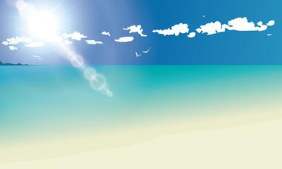 Sea panorama, Tropical beach vector background