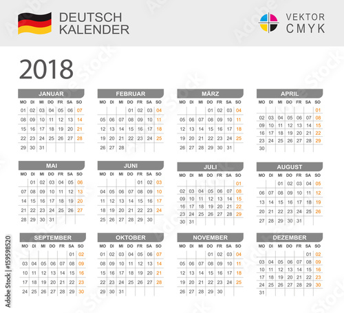 deutsch kalender 2018 stock image and royalty free. Black Bedroom Furniture Sets. Home Design Ideas