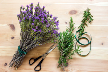 A bouquet of blooming thyme. Rosemary.  Spices.