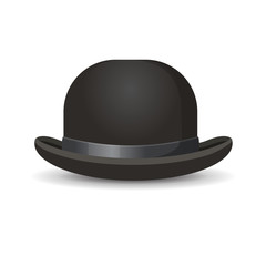 Bowler hat in black color isolated on white