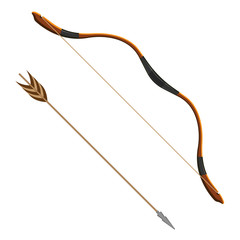 Bow and arrow realistic vector illustration of projectile weapon