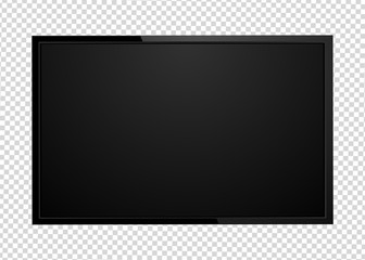 Modern TV screen led type, lcd blank isolated. Black monitor display mockup on a transparent background.