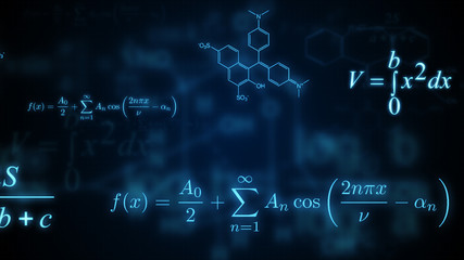 Glowing mathematical, physical and chemical formulas. Illustration