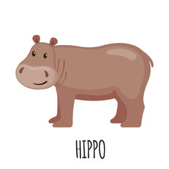 Cute Hippo in flat style