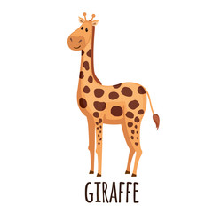 Cute Giraffe in flat style.