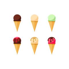 Ice cream. Collection of summer dessert vector illustrations. Set of ice cream wafer cones