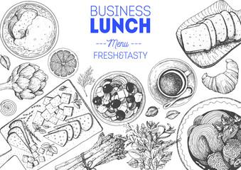 Business lunch top view frame. Food menu design. Vintage hand drawn sketch vector illustration.