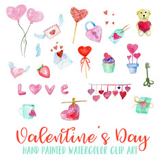 Valentine's Day Watercolor Hand Painted Clip Art, Balloons, Hearts, Cupcake, Love letter, Wings, Lock, Key, Teddy bear, Mug, Cup, Love, Romance  Illustration