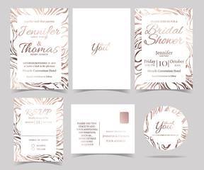 Set of Wedding invitation Card /RSVP Card /Bridal Shower Card/ Sticker and Marble style.Rose Gold color tone.Vector/Illustration.