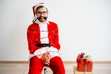 Santa claus tied