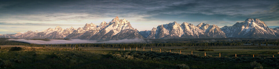 Poster Mountains Morning at the Grand Tetons