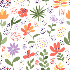 Simple doodle flower and dots pattern. Seamless cute multicolor floral background. Vector illustration. The elegant template for fashion prints.