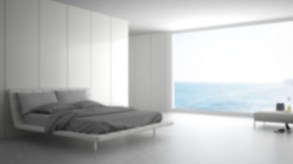 Blur background interior design, minimalist white bedroom with big panoramic window