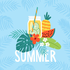 Hand drawn summer greeting card, invitation with lemonade drink in mason jar. Watermelon and pineapple fruit with tropical palm leaves and hibiscus flower. Vector illustration, web banner.