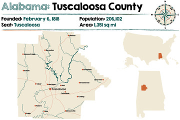 Large and detailed map of Tuscaloosa County in Alabama.