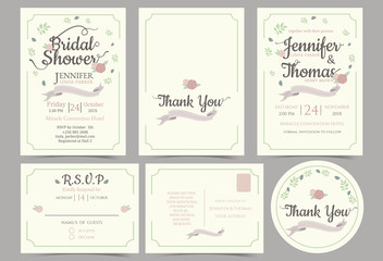 Wedding invitation card minimalist style. Bridal shower card. rsvp card. Thank you sticker.Front and Back template. for sweet couple concept .Vector/Illustration
