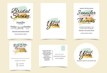 Wedding Invitation Card with Mint, pink,Gold Color tone. Bridal Shower Invitation Card. RSVP card .Thank you sticker.Vector/Illustration